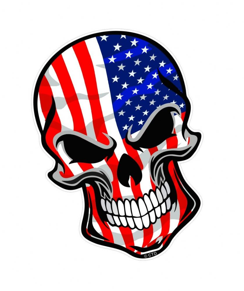 Gothic Biker Skull With American Stars Amp Stripes Us Flag